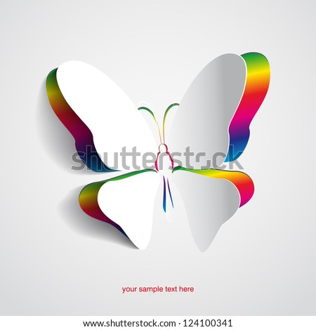 Greeting card with paper rainbow butterfly - vector - stock vector