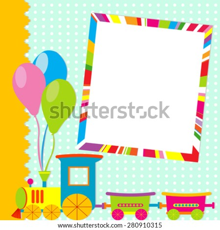 Greeting card with photo frame and cartoon train - stock vector