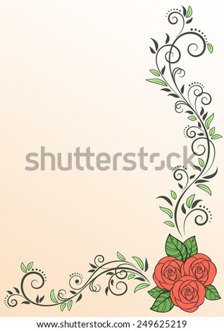Greeting card with pink roses and decorative floral elements. Vector Illustration - stock vector