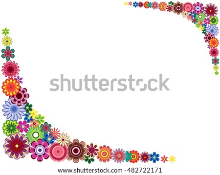 Greeting card with placed around the perimeter many colourful flowers, vector illustration
