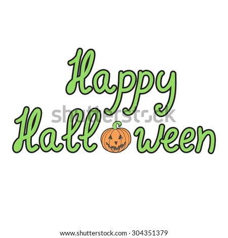 Greeting card with pumpkins and words  merry halloween isolated on white background. Vector illustration. Eps 10.  - stock vector