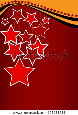 greeting card with ribbons and red stars