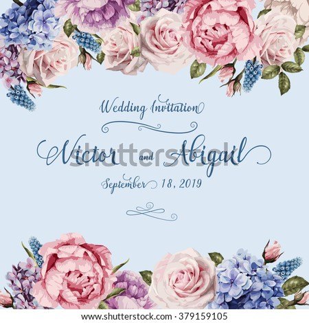 Greeting card with roses, watercolor, can be used as invitation card for wedding, birthday and other holiday and  summer background. Vector illustration.  - stock vector