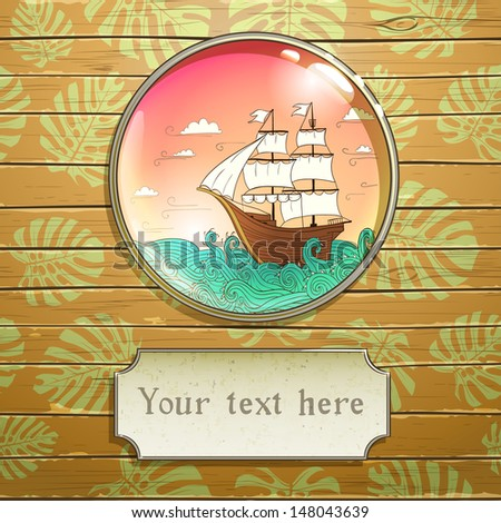 greeting card with sailing ship, vector illustration, eps10 - stock vector