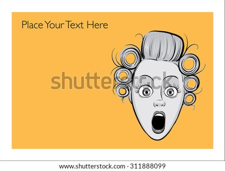 Greeting card with shocked blond woman face - personalize your card with a custom text - stock vector