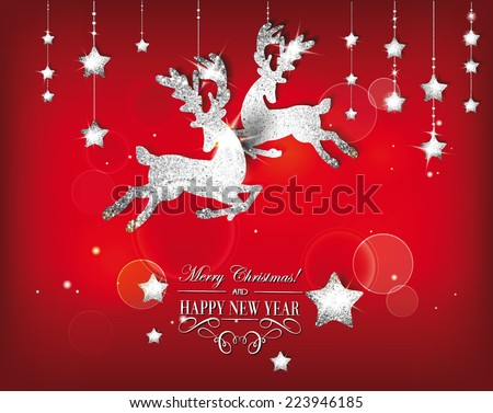 Greeting card with silver shiny deers and christmas decorations - stock vector