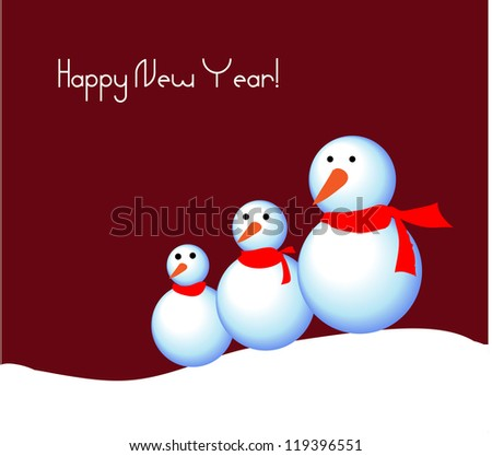 Greeting card with snowmen. Vector illustration - stock vector
