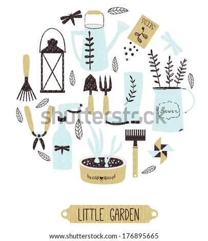 greeting card with stylish garden tools - little garden - stock vector