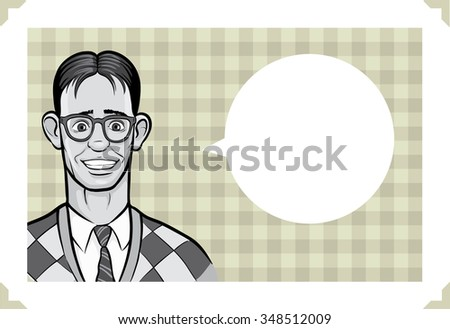 Greeting card with surprised geek man - place your custom text - stock vector