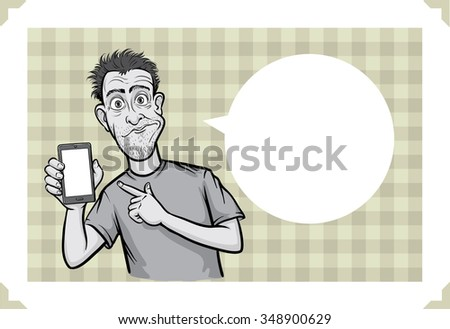 Greeting card with surprised smartphone user - just add your text - stock vector