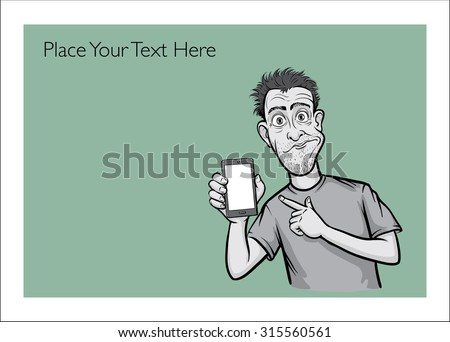 Greeting card with surprised smartphone user - place your custom text - stock vector