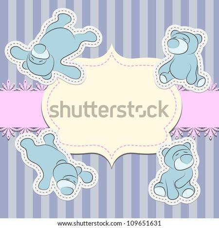 Greeting card with teddy bear, digital scrap-booking - stock vector