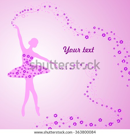Greeting card tender ballerina holding whirl stock photo photo greeting card with tender ballerina holding a whirl with flowers and ribbons m4hsunfo