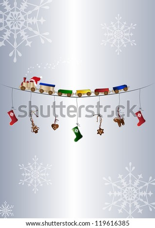 Greeting card with toy train and snowflakes