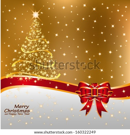 Greeting card with tree of snowflakes and Christmas copy space, vector - stock vector