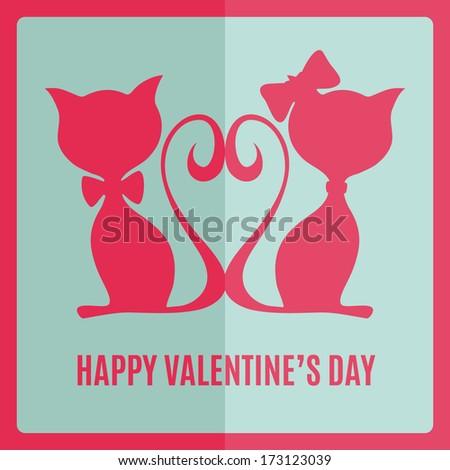 Greeting card with two cats. Vector illustration - stock vector