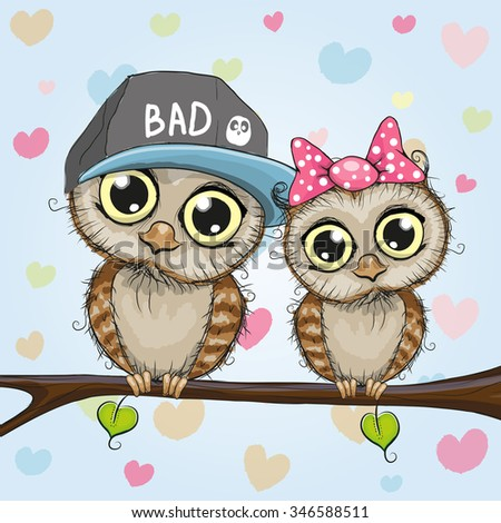 Greeting card two cute cartoon owls stock vector 346588511 greeting card with two cute cartoon owls voltagebd Images