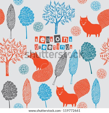 Greeting card with wild foxes - stock vector