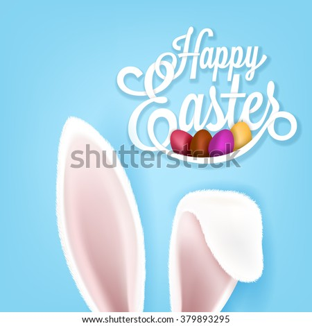Greeting card with with white Easter rabbit. Funny bunny. Easter Bunny. - stock vector