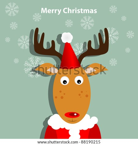 Greeting card with xmas deer - stock vector