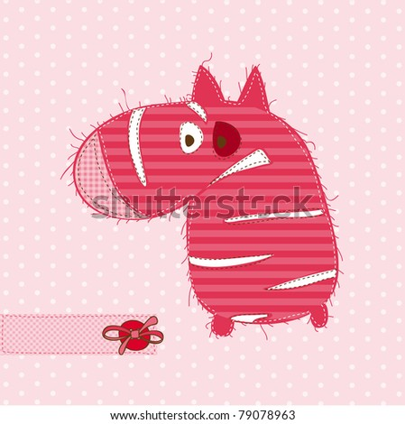 Greeting card with ZEBRA - for scrapbook, invitation, celebration with place for your text - stock vector