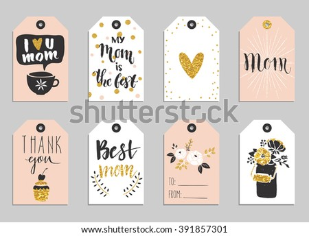 Greeting cards collection for Mother's day. Cute tags with flowers, lettering and other things on gold texture. Set of bright holiday invitations. - stock vector