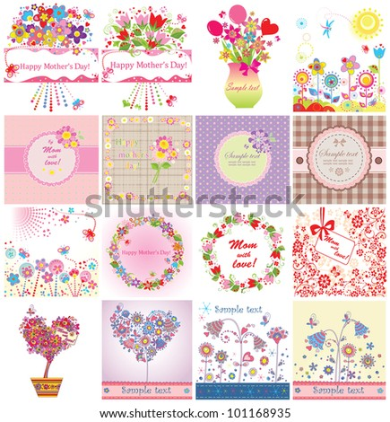 Greeting cards for Mother's Day - stock vector