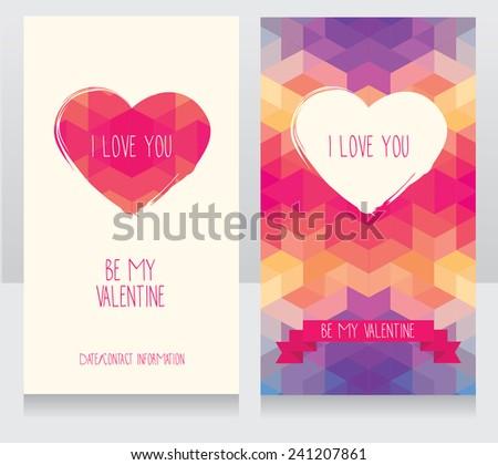 greeting cards for valentine's day, invitation for valentine's day party, cute hand drawn and geometric design, vector illustration - stock vector