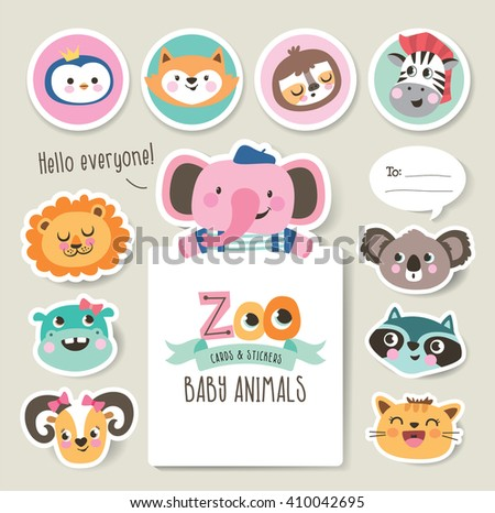 Greeting cards/ gifts/ stickers with zoo baby animals - stock vector