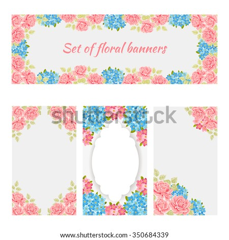 Greeting cards, romantic labels with flower, floral banners - stock vector