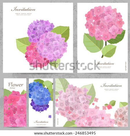 Greeting cards with collection of beautiful flowers.  - stock vector