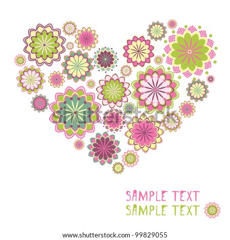 Greeting cards with floral heart shape - stock vector
