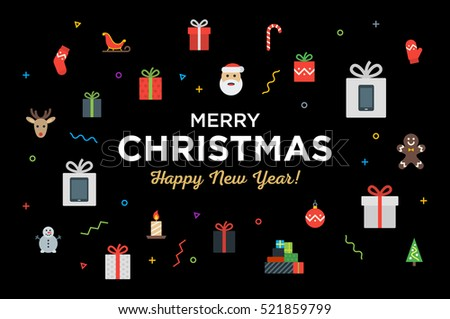 Greeting Christmas and Happy New Year with bunch of gifts and christmas objects. Material design Vector illustration