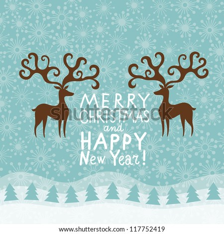 Greeting Christmas and New Year card - stock vector