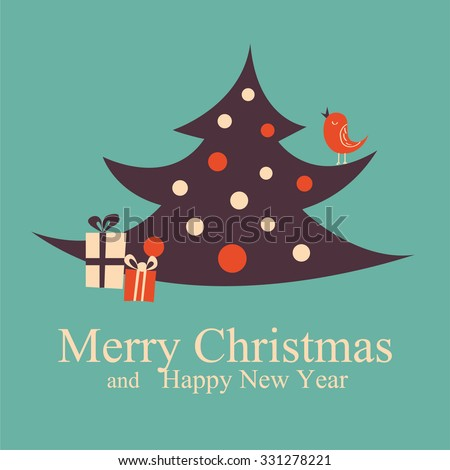 Greeting Christmas and New Year card Christmas tree. Vector Illustration. - stock vector