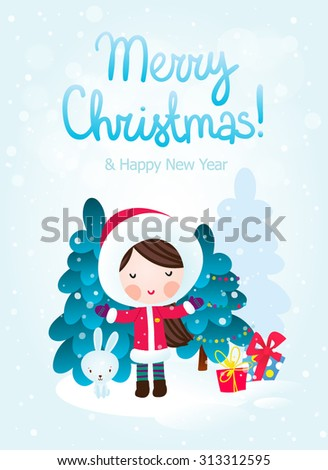 Greeting Christmas and New Year card. Happy girl and rabbit near a Christmas tree. Cartoon vector illustration. - stock vector