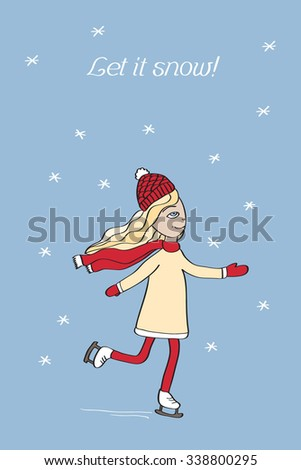 Greeting Christmas and New Year card, vector illustration of ice skating girl