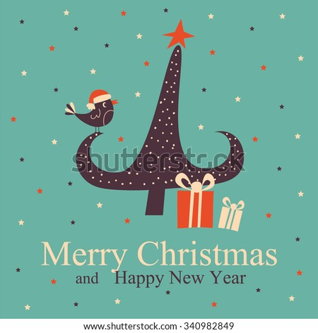 Greeting Christmas and New Year card with Christmas tree. Vector Illustration.