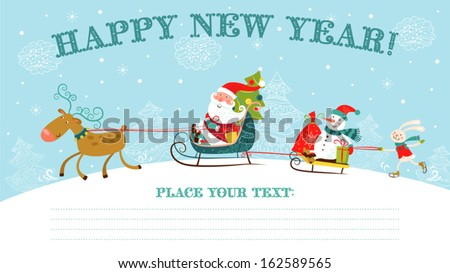 Greeting Christmas and New Year card with Santa Claus on sledge, snowman, deer and rabbit.  - stock vector