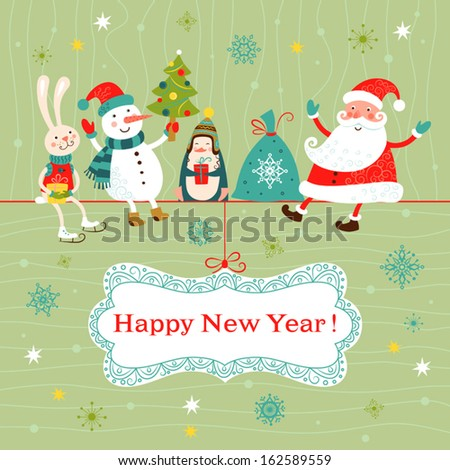 Greeting Christmas and New Year card with Santa Claus, snowman, penguin and rabbit.