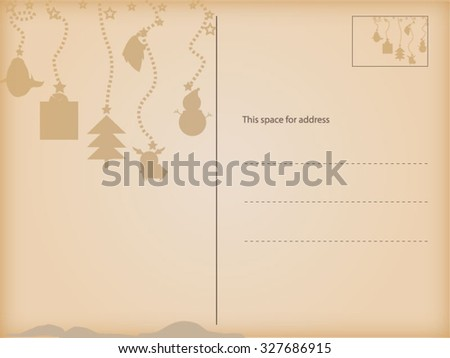 Greeting Christmas and New Year postcard - stock vector