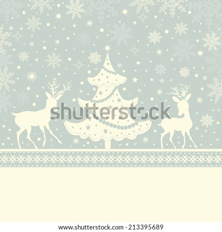 Greeting Christmas card and place for text - stock vector