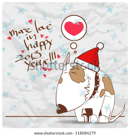 Greeting christmas card with funny doggy character. Vector illustration - stock vector