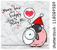 Greeting christmas card with funny sheep character. Vector illustration - stock vector