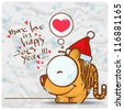 Greeting christmas card with funny tiger character. Vector illustration - stock vector