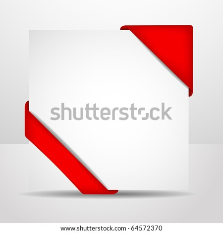 Greeting Christmas card with red corners and a place for your text - stock vector