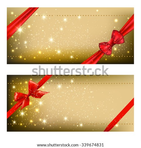 greeting christmas cards with bows. vector illustration