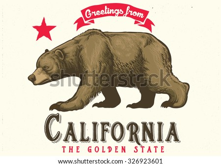 greeting from California with brown bear - stock vector