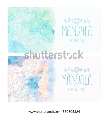 Greeting invitation card mandala on watercolor stock vector greeting invitation card with mandala on the watercolor background indian pattern mehndi style stopboris Images