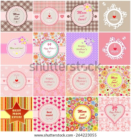 Greeting labels for Mother's day  - stock vector